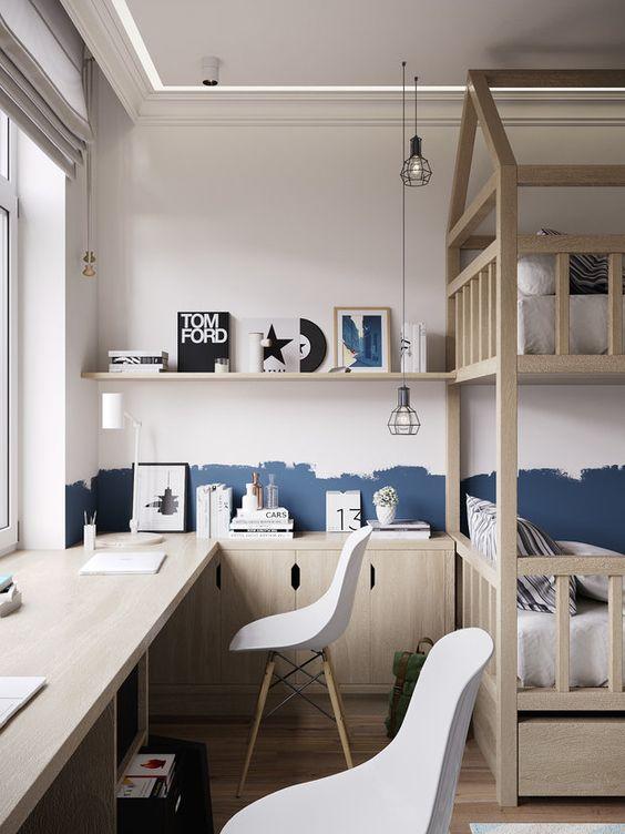 дитяча для двох хлопчиків у бежевому кольорі з двоповерховим ліжком