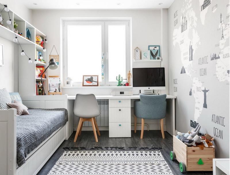 дизайн дитячої кімнати для двох дітей у сірому кольорі