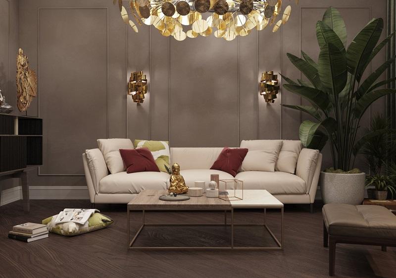 Дизайн-проект гостиной с бежевым диваном