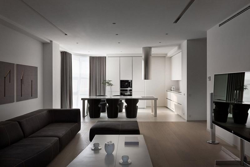 черно-белый минимализм в оформлении гостиной