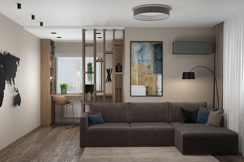 Интерьер гостиной в бежевых тонах, коричневый диван
