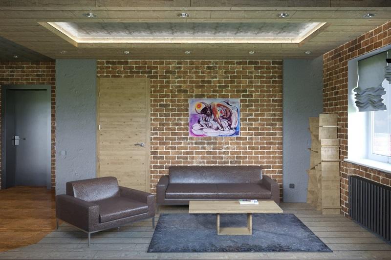 Лофт в гостиной, коричневая мебель
