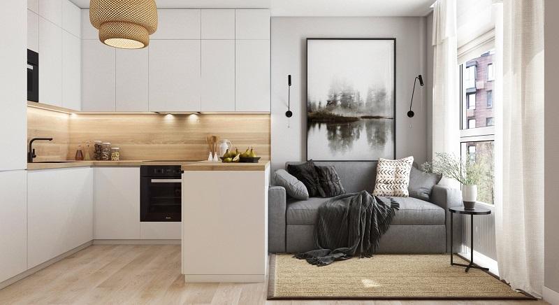 гостиная с кухней в скандинавском стиле