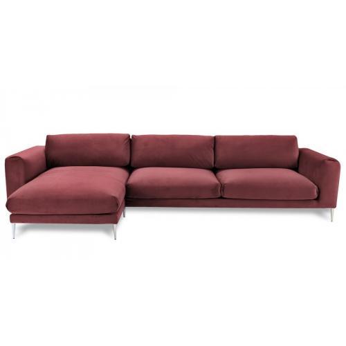 четырехместный угловой диван, бордовый диван