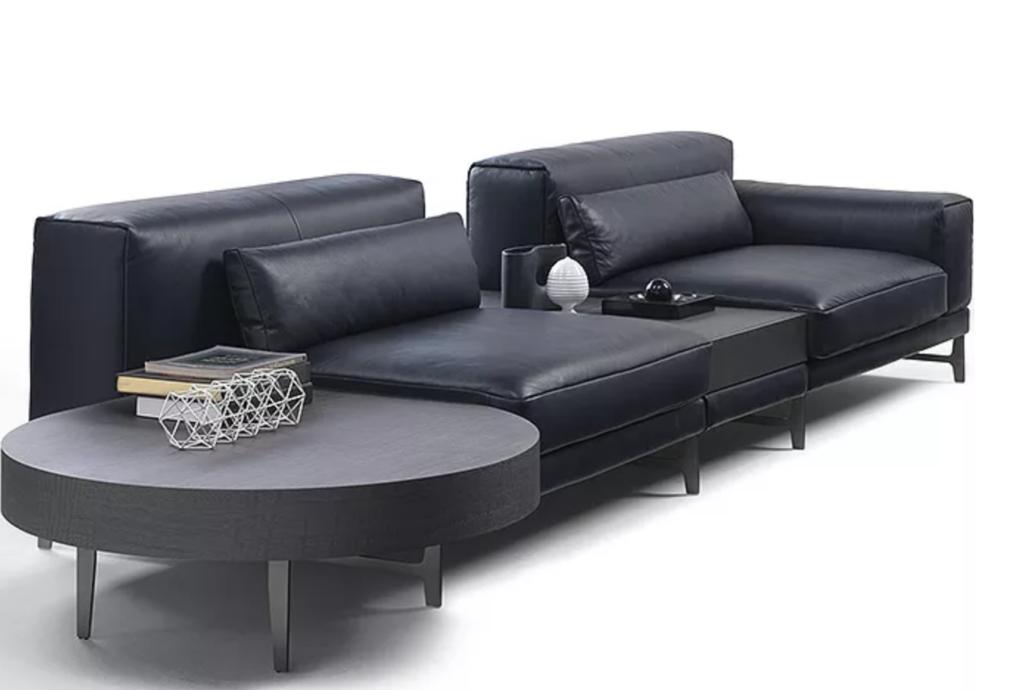 кожаный диван, черный кожаный диван,